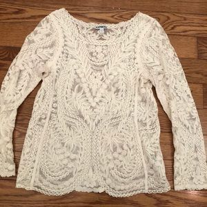 Ivory Express lace top scallop edging